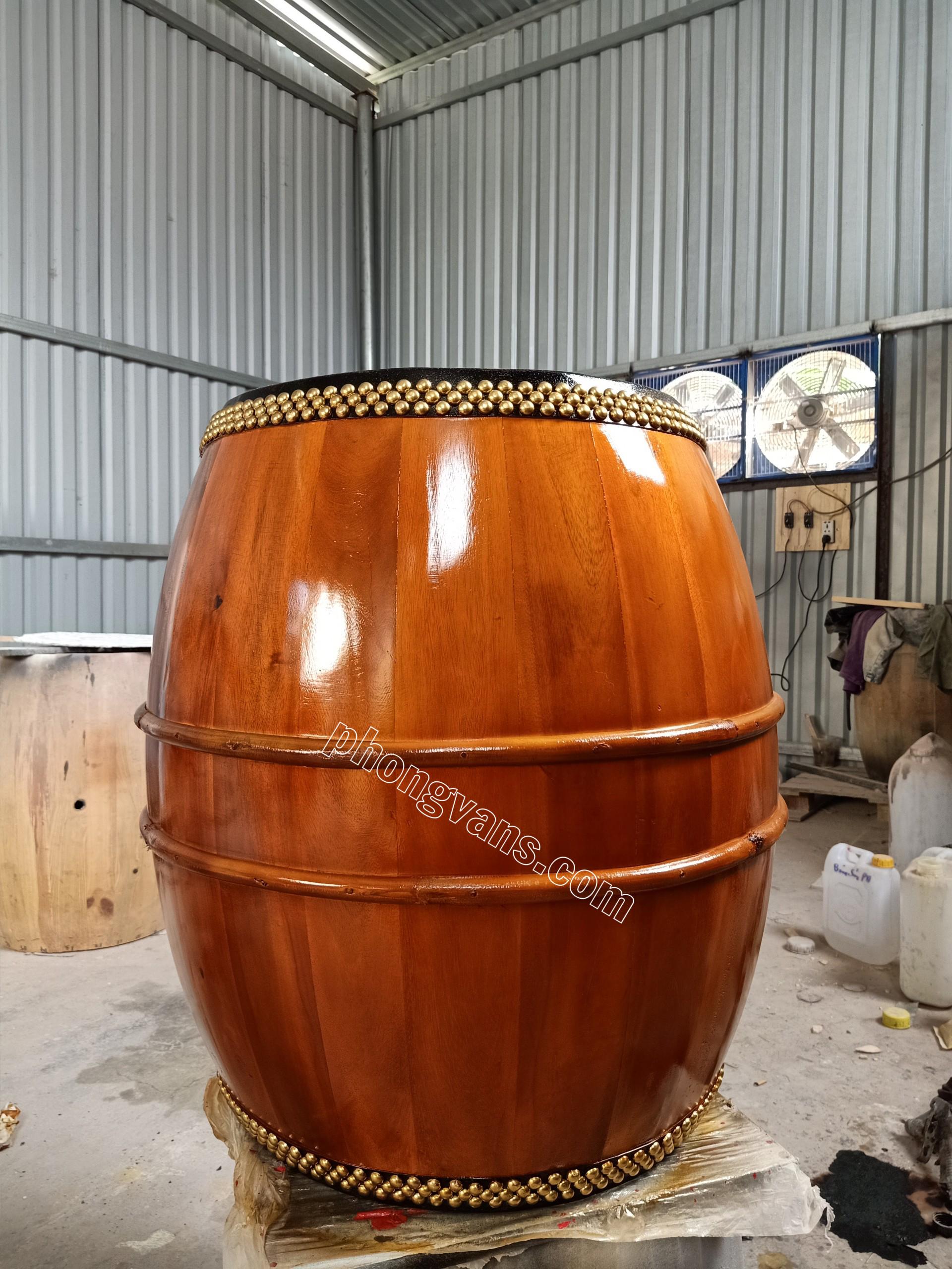 Trống chùa gỗ lõi mít mặt 50cm dài 70cm