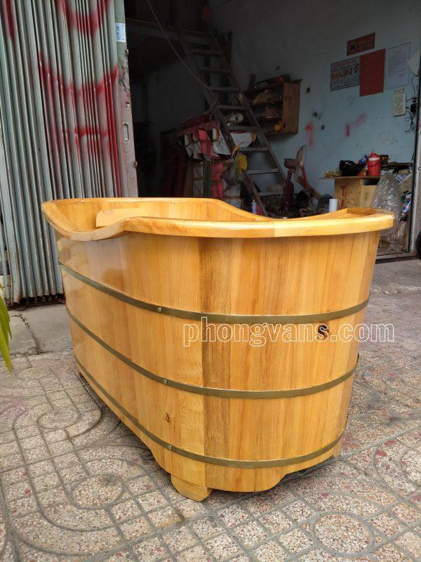 Bồn tắm pơmu dài bo viền 1m3