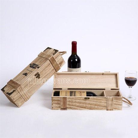 Hộp gỗ đựng 1 chai rượu vang màu giả cổ