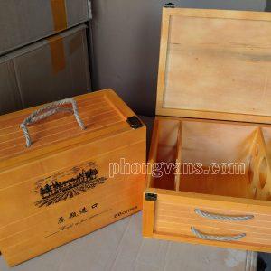 Hộp gỗ đựng 6 chai rượu vang cao cấp màu vàng