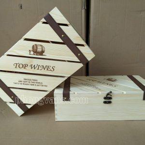 Hộp gỗ thông cao cấp đựng 2 chai rượu vang