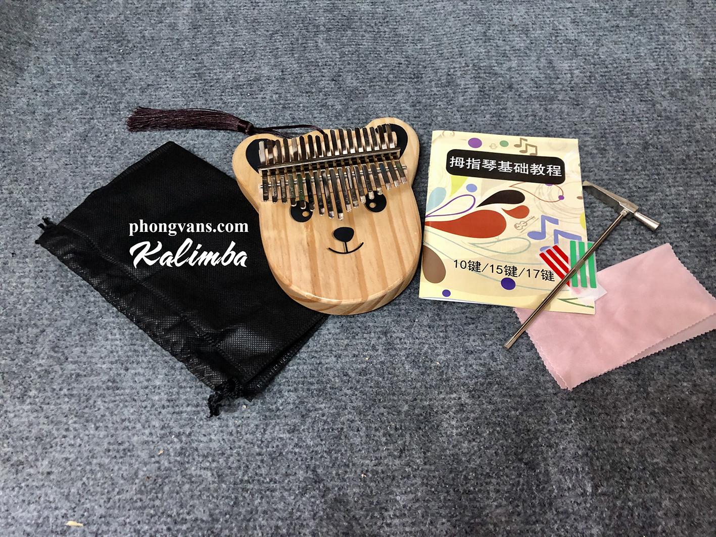 Đàn Kalimba 17 phím gỗ mặt chú gấu