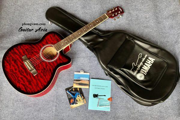 Đàn Guitar Acousitc ARIA vệt lửa màu đỏ