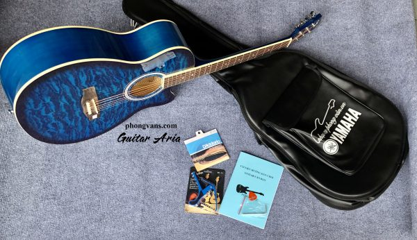 Đàn guitar acousitc Aria vệt lửa màu xanh