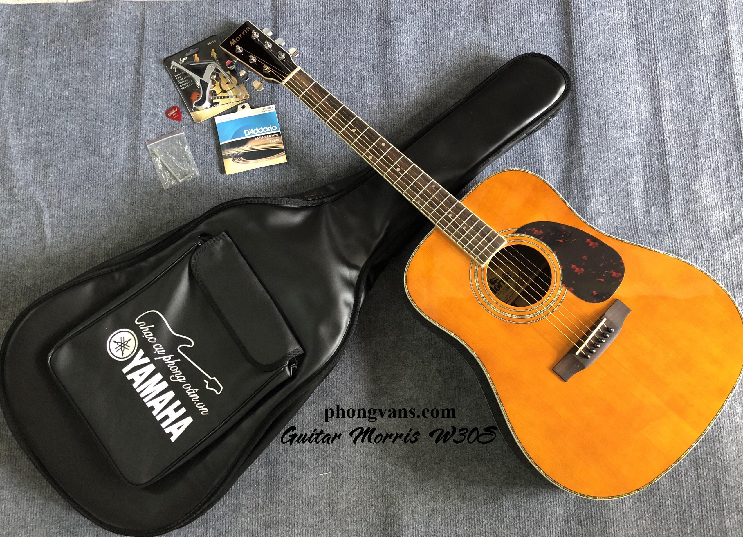 Đàn guitar acoustic gỗ cẩm Ấn Morris W30S