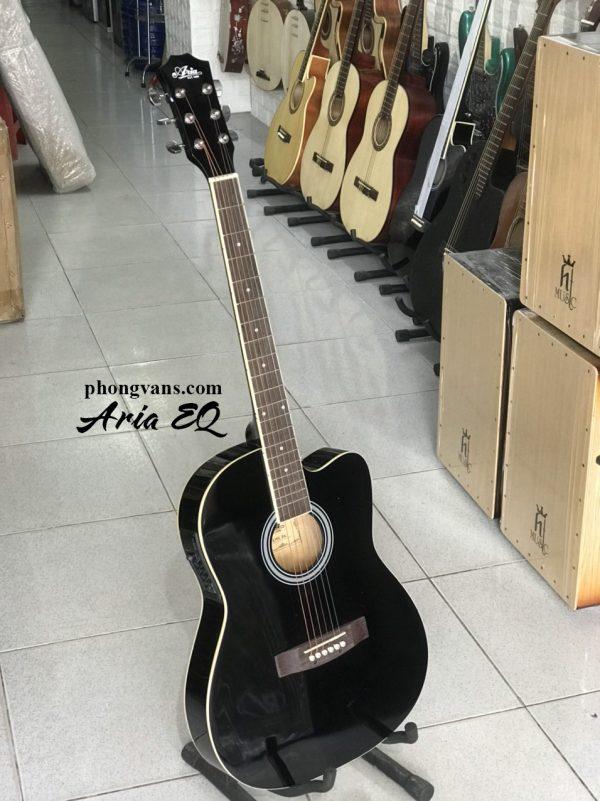 Guitar acoustic Aria EQ thùng mỏng màu đen