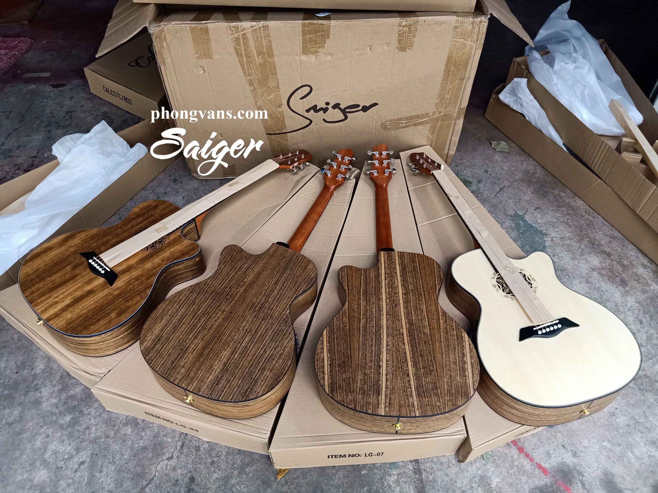 Bán sỉ guitar acoustic Saiger gỗ walnut EQ