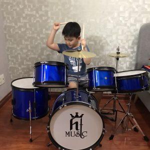 Bộ trống jazz Ht music màu xanh cho trẻ em