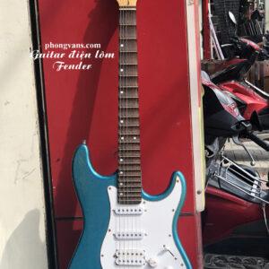 Guitar điện phím lõm Fender 4 mobin màu xanh