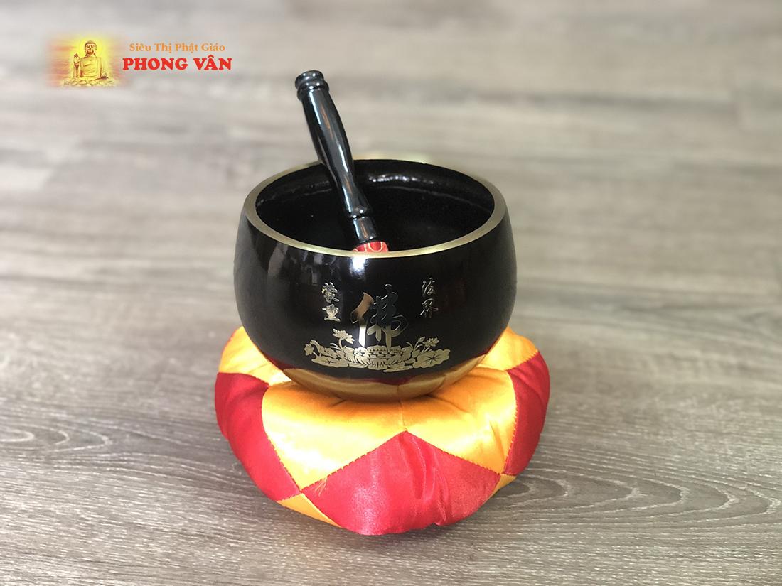 Chuông Đài Loan đen chữ Phật 4 inch