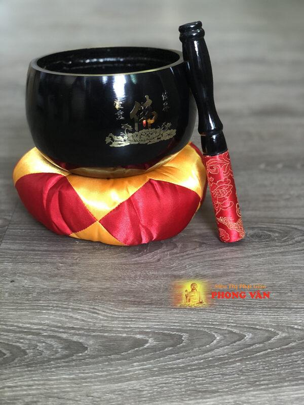 Chuông Đài Loan đen chữ Phật 5 inch